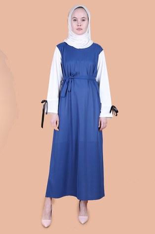 - Kolları Fiyonklu Elbise 12566-3 İndigo