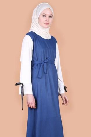 - Kolları Fiyonklu Elbise 12566-3 İndigo (1)
