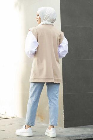 Kolları Gömlek Detaylı Sweat Krem - Thumbnail
