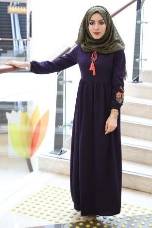 - Kolları Nakışlı Elbise 8390-12