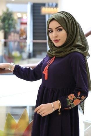 - Kolları Nakışlı Elbise 8390-12 (1)