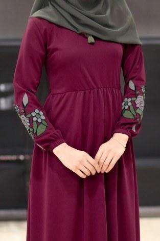 Kolları Nakışlı Elbise 8390-3 - Thumbnail