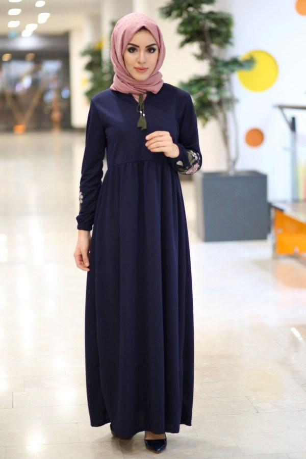 Kolları Nakışlı Elbise 8390-6-lacivert