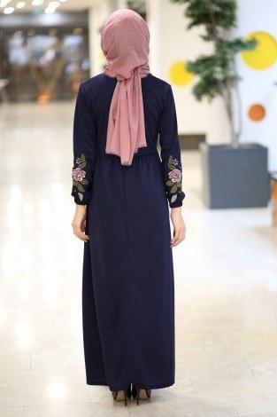 Kolları Nakışlı Elbise 8390-6-lacivert - Thumbnail