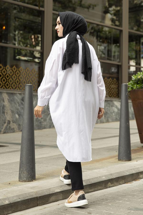 Kolları Pileli Salaş Tunik 100MD-1900 Beyaz