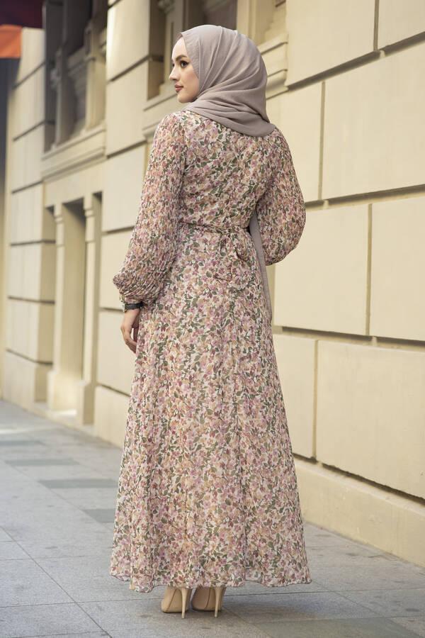 Kolları Pliseli Şifon Elbise Krem