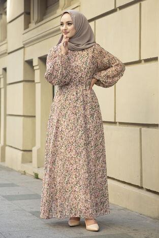 Kolları Pliseli Şifon Elbise Krem - Thumbnail