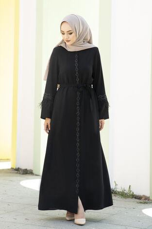 Kolları Tüylü Taş Detaylı Abaya Ferace Siyah - Thumbnail
