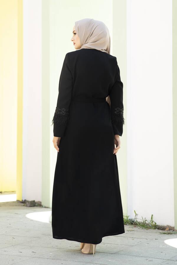 Kolları Tüylü Taş Detaylı Abaya Ferace Siyah