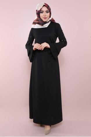 - Kolları Volanlı Boncuk İşlemeli Elbise 8470-2-siyah