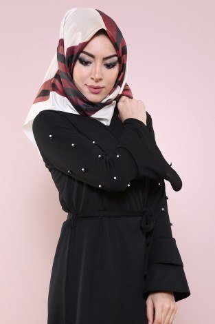 - Kolları Volanlı Boncuk İşlemeli Elbise 8470-2-siyah (1)