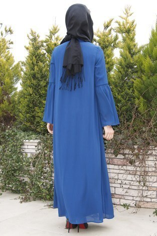 Kolları Volenli Ferace Elbise 5380-3 - Thumbnail