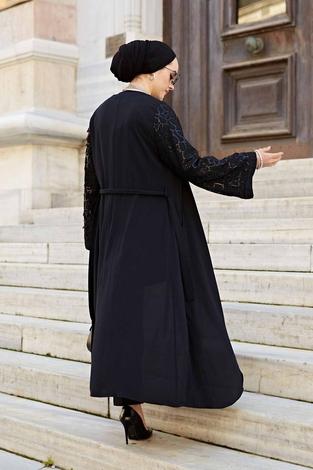Kolu Desenli Pullu Abaya 530GK-11902 Siyah - Thumbnail