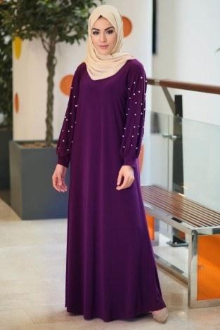 - Kolu incili tesettür elbise 34509-03