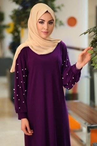 - Kolu incili tesettür elbise 34509-03 (1)