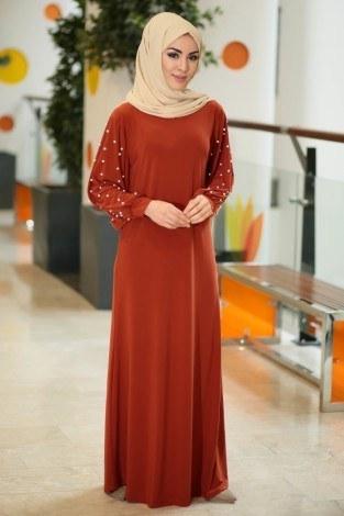 - Kolu incili tesettür elbise 34509-04
