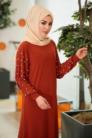 - Kolu incili tesettür elbise 34509-04 (1)