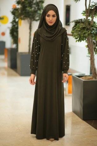 - Kolu incili tesettür elbise 34509-05