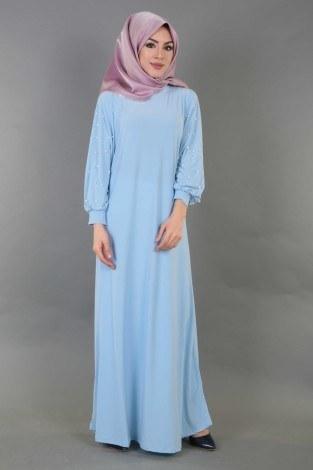 - Kolu incili tesettür elbise 34509-7