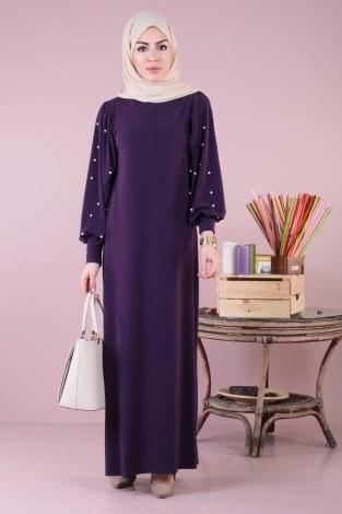 - Kolu incili tesettür elbise 34510-09