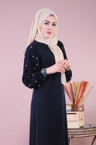 - Kolu incili tesettür elbise 34510-11 (1)