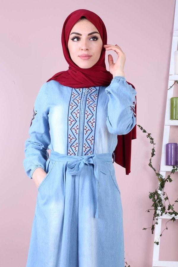 - Kolu Nakışlı Kot Elbise 89500-2 (1)