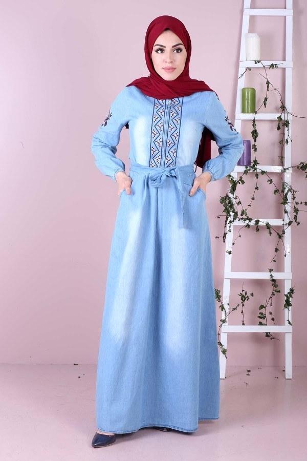 - Kolu Nakışlı Kot Elbise 89500-2