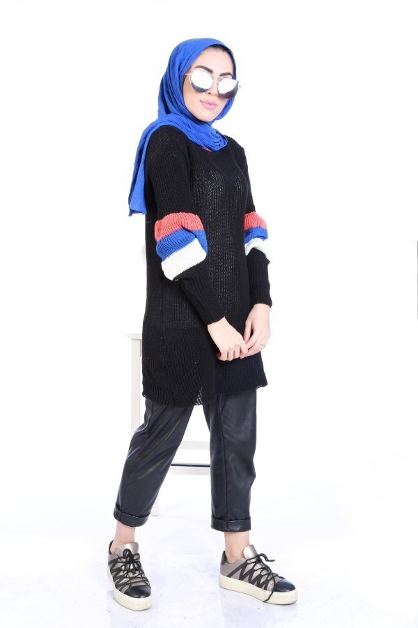 Kolu Volenli Triko Şerit Detaylı Kazak 2187-16