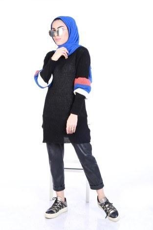 Kolu Volenli Triko Şerit Detaylı Kazak 2187-16 - Thumbnail