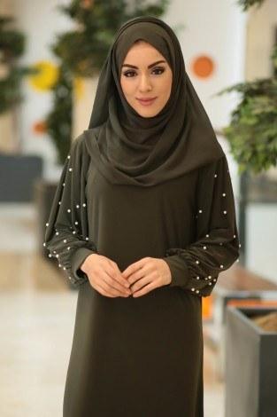 - Kolu incili tesettür elbise 34510-05 (1)