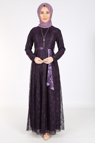 Kolyeli Dantelli Şifon Elbise 06056-3 Mor - Thumbnail
