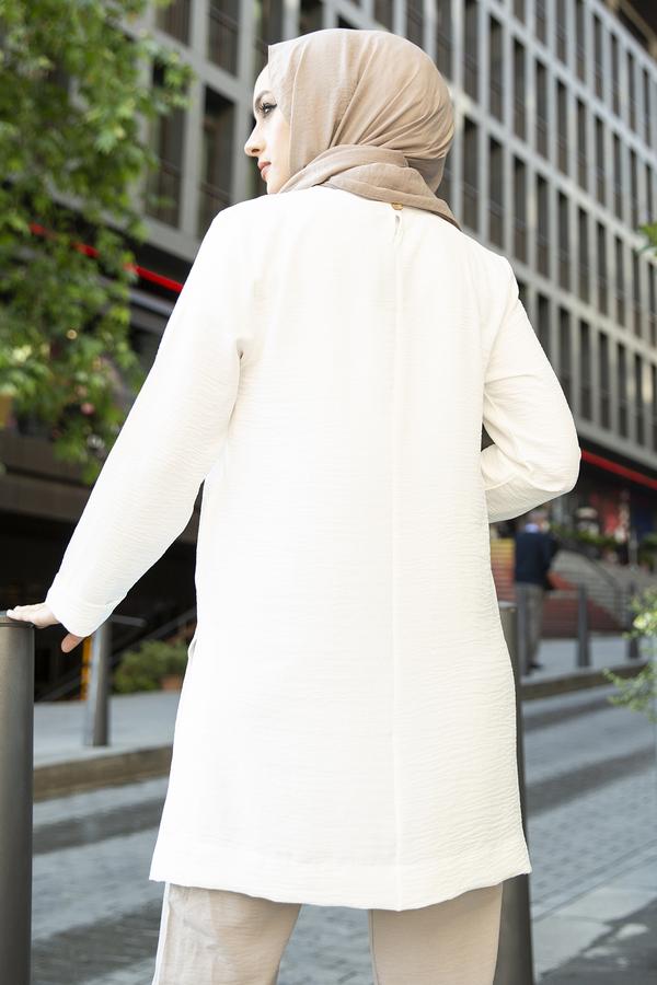 Kolyeli Salaş Tunik 350TH4043 Beyaz