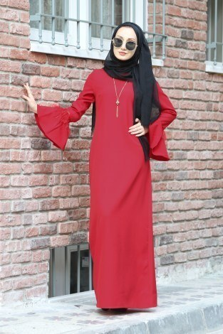 - Kolyeli Tüy Detaylı Elbise 5584-02