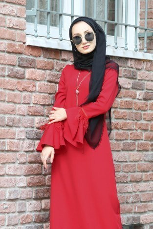 - Kolyeli Tüy Detaylı Elbise 5584-02 (1)