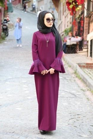 Kolyeli Tüy Detaylı Elbise 5584-07 - Thumbnail