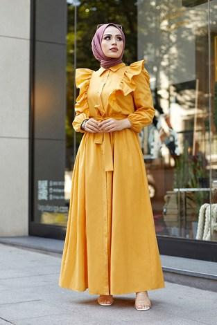 KPS Fırfırlı Boydan Düğmeli Elbise 3477-1 Sarı - Thumbnail