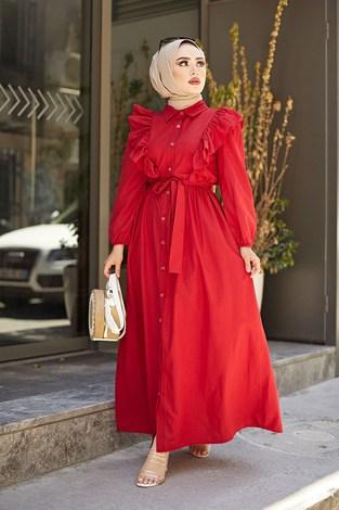KPS Fırfırlı Boydan Düğmeli Elbise 3477-2 Kırmızı - Thumbnail