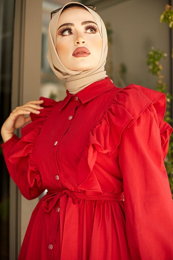KPS Fırfırlı Boydan Düğmeli Elbise 3477-2 Kırmızı