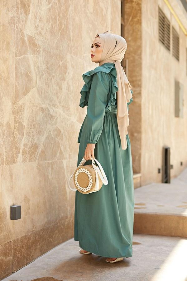 KPS Fırfırlı Boydan Düğmeli Elbise 3477-3 mint