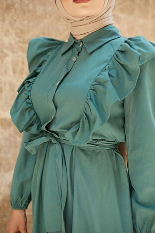 KPS Fırfırlı Boydan Düğmeli Elbise 3477-3 mint - Thumbnail