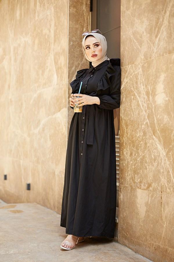 KPS Fırfırlı Boydan Düğmeli Elbise 3477-4 Siyah