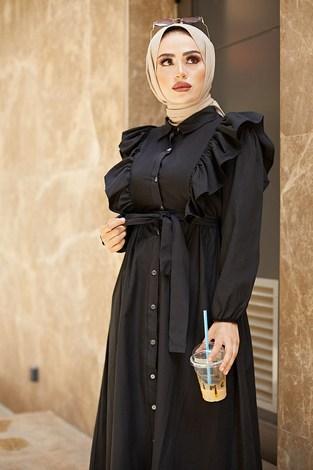 KPS Fırfırlı Boydan Düğmeli Elbise 3477-4 Siyah - Thumbnail