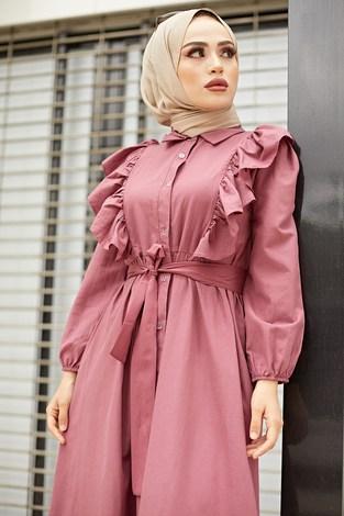 KPS Fırfırlı Boydan Düğmeli Elbise 3477-6 Gül K. - Thumbnail