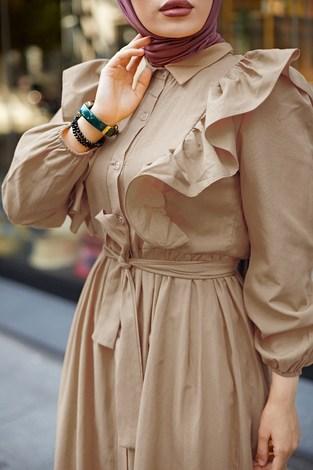 KPS Fırfırlı Boydan Düğmeli Elbise 3477-7 Bej - Thumbnail