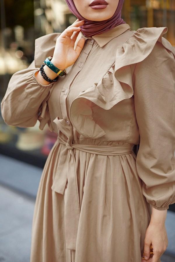 KPS Fırfırlı Boydan Düğmeli Elbise 3477-7 Bej