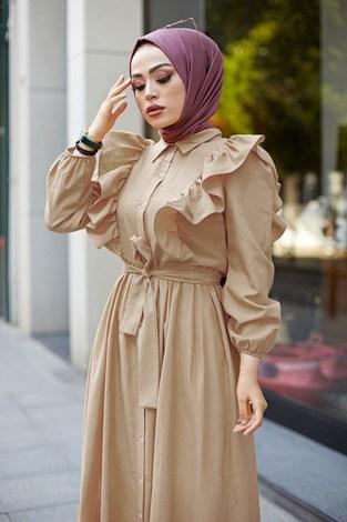 - KPS Fırfırlı Boydan Düğmeli Elbise 3477-7 Bej (1)