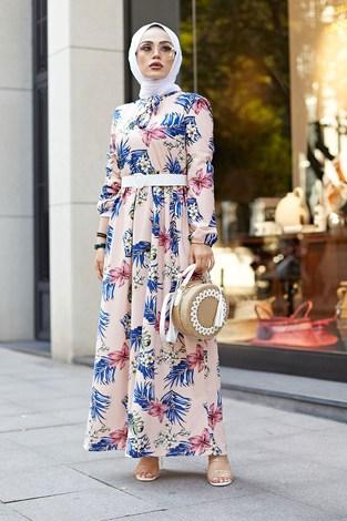 - Kravatlı Çiçek Desenli Elbise 9643-1