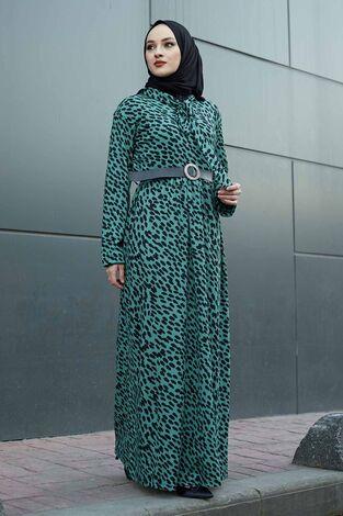 Kravatlı Damla Desenli Elbise 120NY6733 Haki - Thumbnail