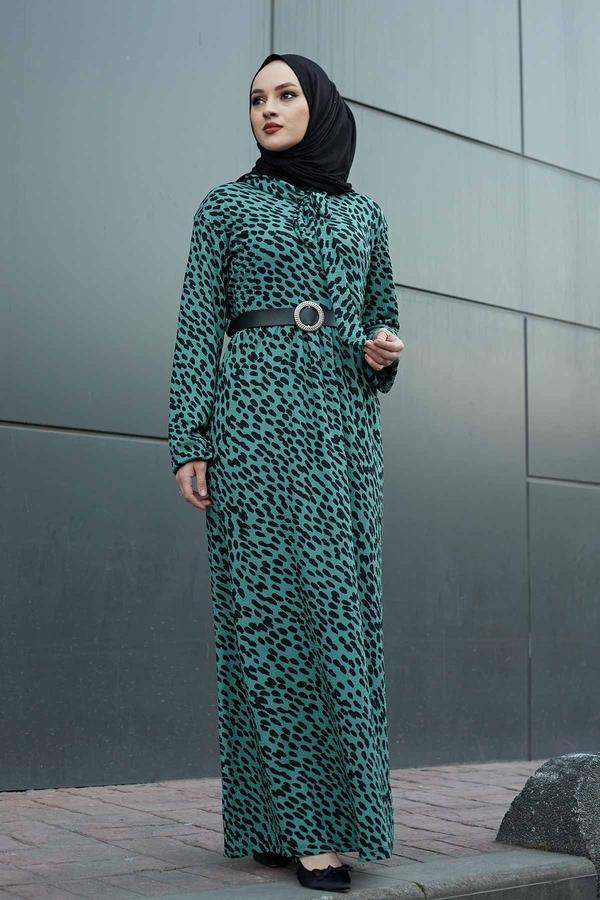 Kravatlı Damla Desenli Elbise 120NY6733 Haki