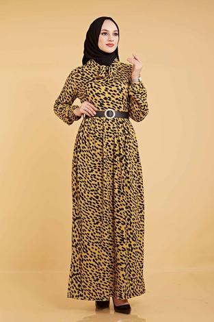 Kravatlı Damla Desenli Elbise 120NY6733 Hardal - Thumbnail